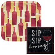 Sip Sip Hooray Wine 18cm Plates (16) Napkins