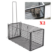 2x Rat Catcher Foldable Animal Rodent Metal Traps Mouse Cage Indoor Outdoor