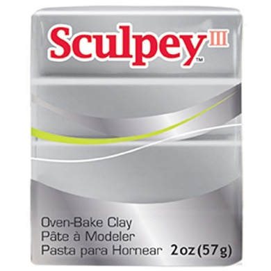 Oven Bake Modelling Polymer Clay in Silver by Sculpey III (60ml)