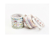 12PCS 5mm Thin Detail Washi Masking Tape, Decorative Masking Tape Collection,Tape for DIY Crafts and Gift Wrapping Office Party Supplies -Iris & Sandy