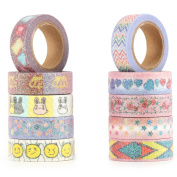 RunRRIn Washi Tape Set of 10 Rolls, Decorative Masking Paper Craft Tape for DIY or Gift Wrapping with Design ,Patterned and Glitter