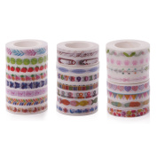Washi Masking Tape Set of 24,Decorative Craft Tape Collection for DIY and Gift Wrapping with Colourful Designs and Patterns