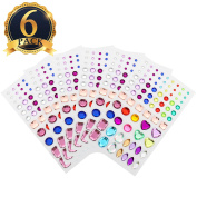 SUBANG 486 Pieces Multicolor Self-Adhesive Rhinestones, Assorted Styles,6 Sheets For Art Projects