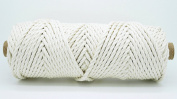 4mm Natural White 3 Strand Cotton Twisted Cord Rope Craft Macrame Artisan String