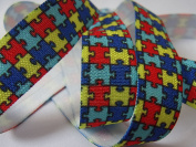 Autism Awareness Print - Fold Over Elastic - For DIY Bridal Headbands, Wristbands, or Hair Ties! 1.6cm W - 5 Yards