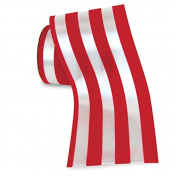 10cm Red/White Stripe Water Resistant Persuezion Stripe Ribbon - 25 Yards