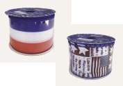 Americana Patriotic Bundle of Two Ribbons 6.4cm x 7.6m Each Red White and Blue Wired Edge