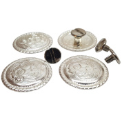 Set of 4, 2.5cm Western Bright Engraved Concho W/ 0.6cm Chicago Screw Back