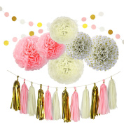 20Pcs Paper Decorations Set Pom Poms Flower Shape Paper Balls Tassels String Decorative Accessories for Pink Gold Theme Party Birthday Bachelorette Wedding Festival Baby Shower