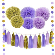 20Pcs Paper Decorations Set Pom Poms Flower Shape Paper Balls Tassels String Decorative Accessories for Pink Gold Theme Party Birthday Bachelorette Wedding Festival Baby Shower Purple