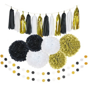 20Pcs Paper Decorations Set Pom Poms Flower Shape Paper Balls Tassels String Decorative Accessories for Pink Gold Theme Party Birthday Bachelorette Wedding Festival Baby Shower Black