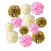 Wartoon Tissue Paper Pom Poms Flowers for Wedding Birthday Party Baby Shower Decoration 12 pieces - Pink, Ivory White and Gold