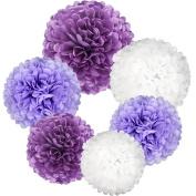 Coceca 21Pcs Paper Pom Poms 36cm , 30cm , 25cm , 20cm Purple Set Flower Ball for Birthday Wedding Party Outdoor Baby Shower Decoration