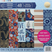 Craft Smith 30cm Textured Acid Free 48 Sheet Paper Pad Heritage Colour Patterns