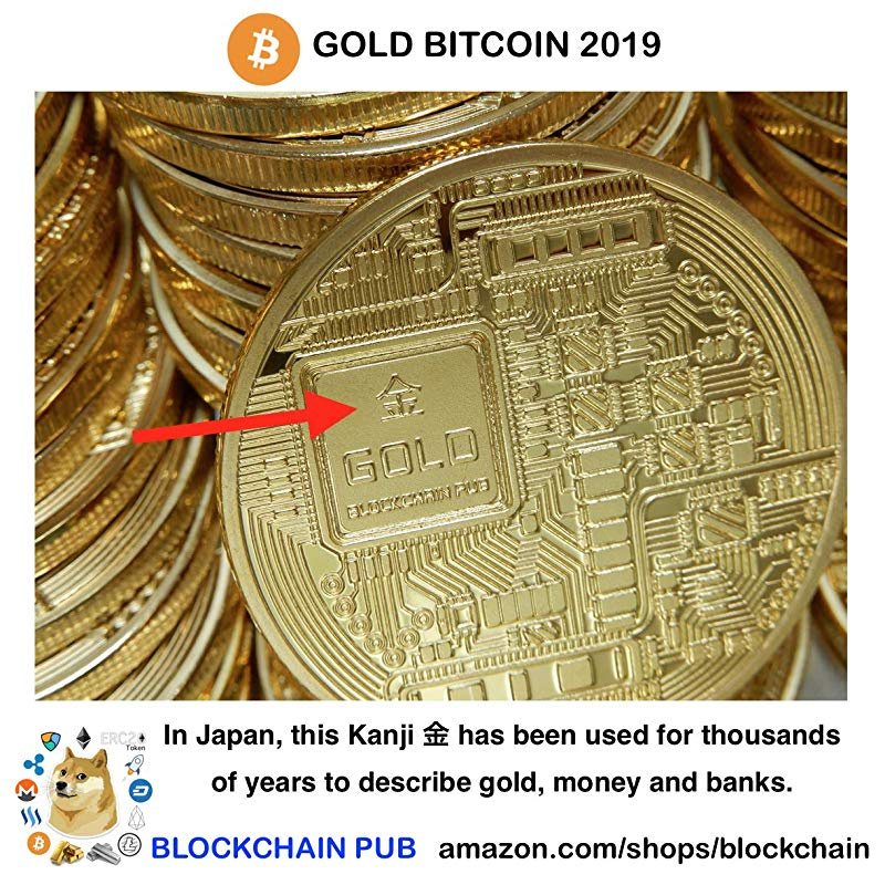 2019 Gold Bitcoin Commemorative Round Collectors Coin Bit Coin Gold Plated Coin