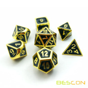 Bescon Super Shiny Deluxe Golden and Enamel Solid Metal Polyhedral Dice Set of 7 Gold Metallic RPG Role Playing Game Dice 7pcs set D4-D20