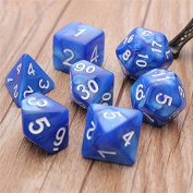 RUNGAO 7Pcs Dice Set Dungeons and Dragons Opaque Multi Sides Dice Blue