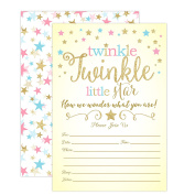 Twinkle Twinkle Little Star Gender Reveal Invitations, Gender Reveal Party Baby Shower Invites, 20 Fill in Style With Envelopes