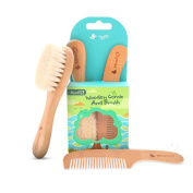 Baby Hair Brush and Comb Set, Natural Soft Brush for Newborn Baby, Infant, Toddler and Wooden Comb
