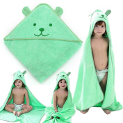 NinkyNonk Cute Bear Hooded Towel for Baby and Toddler Boys and Girls,Green