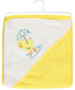 "Sweet & Soft ""Rain Puddles"" Hooded Towel - yellow/white, one size"