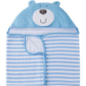 Gerber Newborn Baby Boy 3-D Terry Hooded Bath Wrap Blue