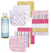 Dr. Bronner's Pure Castile Liquid Soap - Unscented 240ml Baby Bundle - 1 240ml Bottle Soap 12 Pack Baby Washcloths