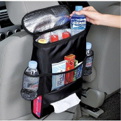 Car seat back organiser, multi-purpose car multi-functional insulation storage bag, waterproof truck trash can with side pockets, multi-pocket travel storage bag, suitable for cars, SUV.