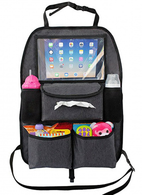 Backseat Car Organiser for Kids, Baby's & Toddlers Tablet iPad DVD Holder, Wet Wipes Tissue Compartment Stretchy Storage Pockets. Kick Mat Seat Back Seat Protector