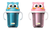 Edison Owl Dual Stainless Baby Bottle Straw Cup,Spill Prevention Straw, Excellent Keeping Warm and Cool Effect, 1+1 300ml