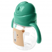 Sippy Cup with Straw, Straw Cup-No Spill, Not Hurt Child, Easy Grip, Click Lock, BPA Free, Phthalates Free,PP Material Safe for Baby & Toddler,270ml Green