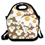Custom Fried Eggs Reusable Ziplock Crossbody Picnic Bag Design For Office Portable Lunch Box Cooler Back To School Lunch Bag Lunch Tote Bag Box For Boys Girls