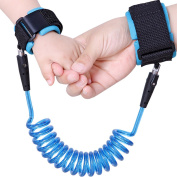 Anti Lost Wrist Link Safety Hook and loop Wristband Harness for Babies,Toddlers & Kids, 2.5m (Blue)