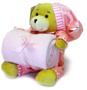 Little Grape Land Cute Baby Gift Set - Fleece Blanket + Toy Bear Set