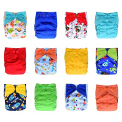 12-Pack Pocket Cloth Nappies +24 Inserts Bundle Set, Charcoal Bamboo, One Size 4.5-16kg