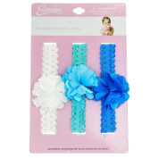 INFANT 3PC SATIN FLOWER HEADWRAP