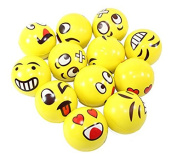Set of 24 Assorrted Big Happy Face Fun Emoji Hand Wrist Finger Exercise Stress Relief Therapy Squeeze Ball …