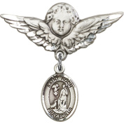 Sterling Silver Baby Badge with St. Roch Charm and Angel w/Wings Badge Pin 2.9cm X 2.9cm