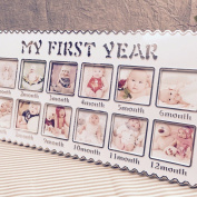 """""""My First Year"""" Desktop Photo Frame 12 Months Collage Picture Frame Table Gallery Decor,Baby Keepsake Gift,Cbristening Baby Shower Gifts for Infants and New Parents"""