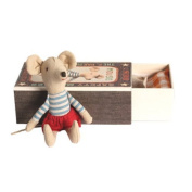 Maileg Big Brother Mouse with Stripe Top & Red Shorts in a Matchbox by Maileg