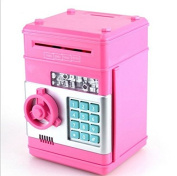 URTop Creative New Design Piggy Bank Mini ATM Money Box Safety Electronic Password Chewing Coins Bank Cash Deposit Machine Birthday Gift for Children Kids Pink Colour