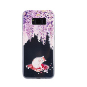 Galaxy S8 Case,S8 Case,IKASEFU Girls Floral Pattern Clear Soft Slim Design Printed Transparent Flexible Silicone TPU Bumper Glossy Phone Case Cover for Samsung Galaxy S8,Cat