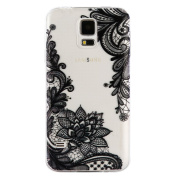 Galaxy S5 Case, IKASEFU Girls Floral Pattern Clear Soft Slim Design Printed Transparent Flexible Silicone TPU Bumper Glossy Phone Case Cover for Samsung Galaxy S5 S V I9600,Lace pattern