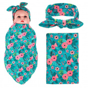 Elesa Miracle Newborn Baby Swaddle Blanket and Headband Value Set,Receiving Blankets