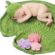 AxiEr Lovely BabyHouse Photography Prop Baby Cotton Knit Frog Green Crochet Baby Blanket Hat Knitted Photography Prop