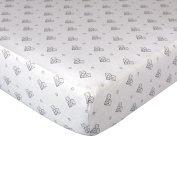 Living Textiles Fitted Sheet Paper Hearts, White