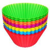 Easy Gourmet Silicone Muffin Baking Cups / Cupcake Liners - 12 Vibrant Muffin In