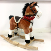 Kids Rocking Horse Pony Toy Moving Mouth Sounds Ride On Rocker Boys Girls