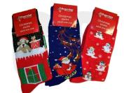 Novelty Adult Christmas Socks - One Size - Blue Santa Sleigh