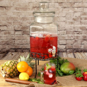 Hexagonal Glass Drinks Dispensers With Stand 5.6ltr X 2 | Lemonade Dispenser